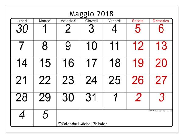 Calendario maggio 2018, Oseus