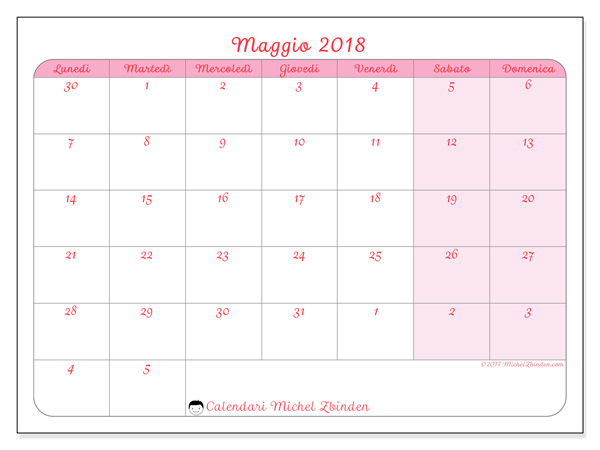 Calendario maggio 2018, Rosea