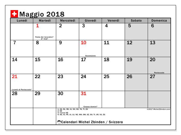 Calendario maggio 2018, Giorni festivi in Svizzera