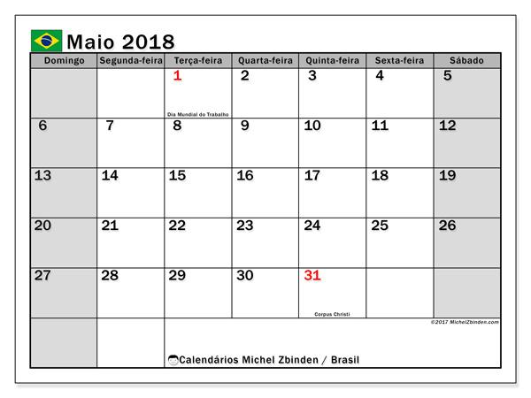 Calendário maio 2018, Feriados públicos no Brasil