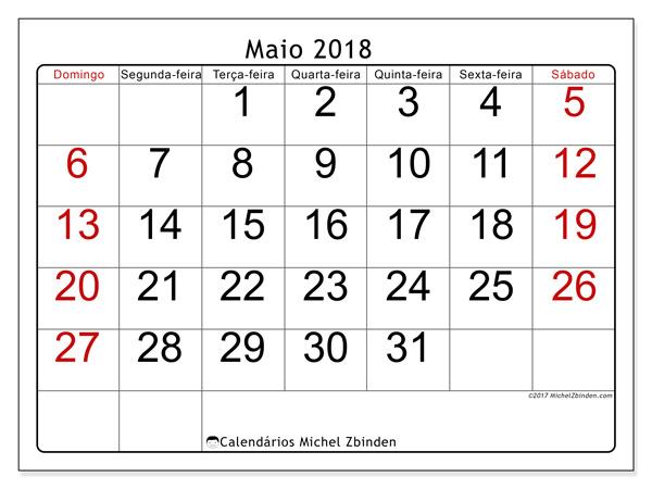 Calendário maio 2018, Emericus