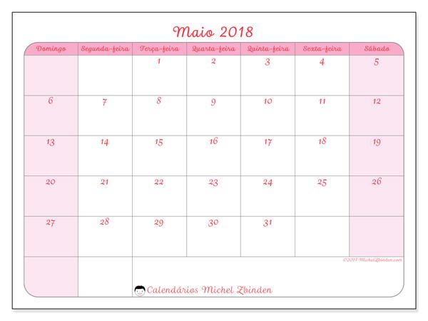 Calendário maio 2018, Generosa