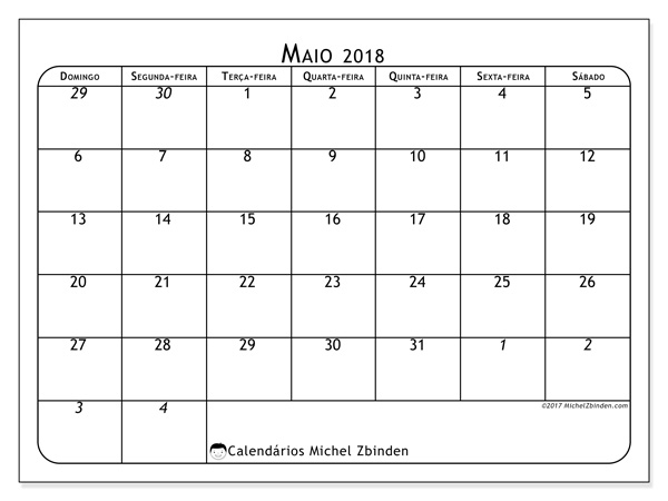 Calendário maio 2018, Maximus