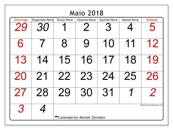 Calendário maio 2018, Oseus