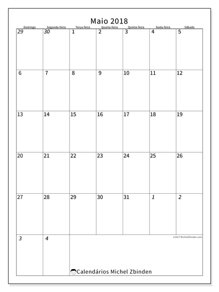 Calendário maio 2018 - Regulus (br)