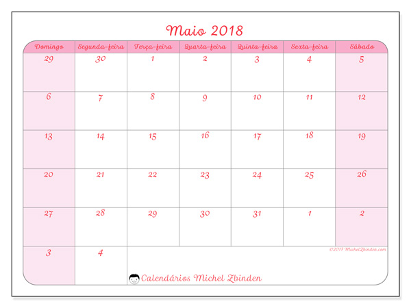 Calendário maio 2018, Rosea