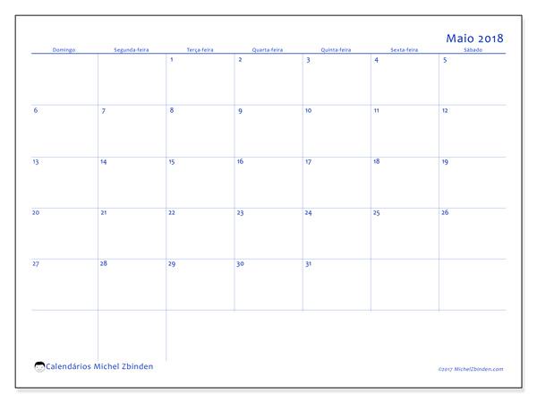 Calendário maio 2018 - Ursus (br)