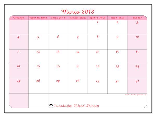 Calendário março 2018, Generosa