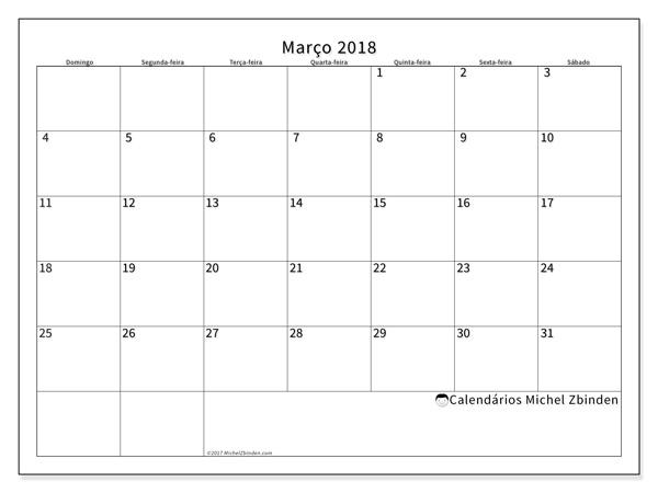 Calendário março 2018, Horus