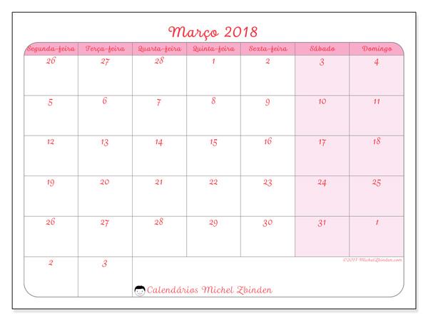 Calendário março 2018, Rosea