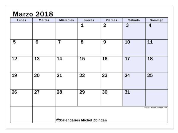 Calendario marzo 2018, Auxilius