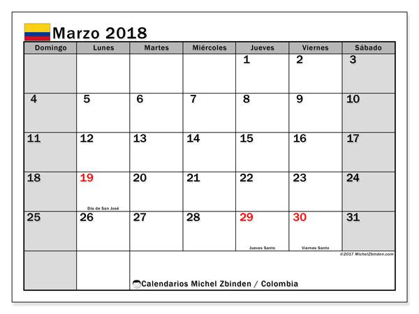 Calendario marzo 2018, Días festivos en Colombia