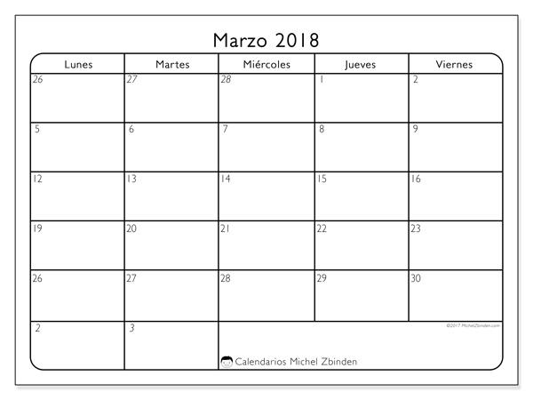 Calendario marzo 2018 - Egidius (cl)