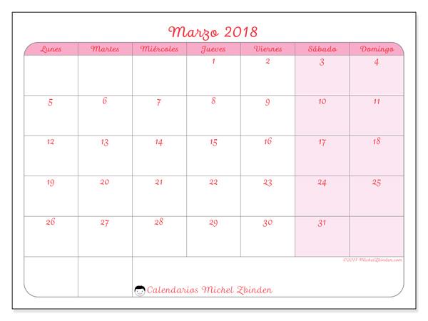Calendario marzo 2018 - Generosa (cl)
