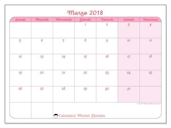 Calendario marzo 2018, Generosa