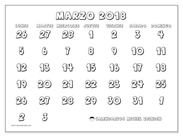 Calendario marzo 2018 - Hilarius (cl)