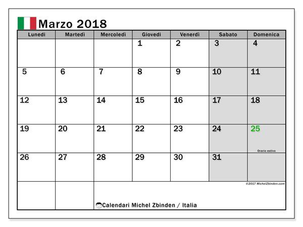 Calendario marzo 2018, Giorni festivi in Italia