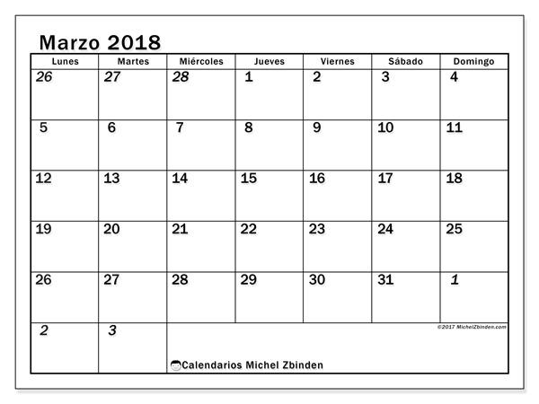 Calendario marzo 2018, Julius