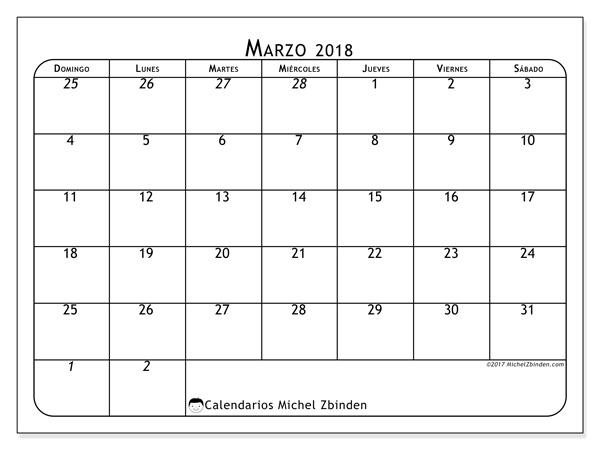 Calendario marzo 2018, Maximus
