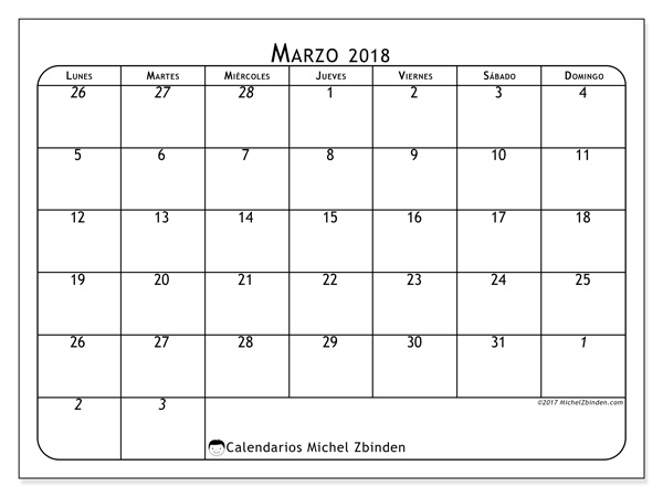 Calendario marzo 2018, Maximus