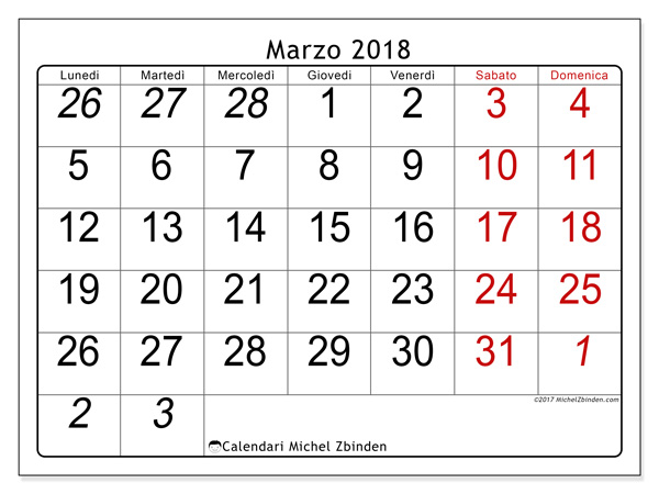 Calendario marzo 2018, Oseus