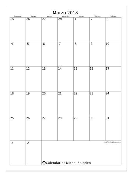 Calendario marzo 2018 - Regulus (co)
