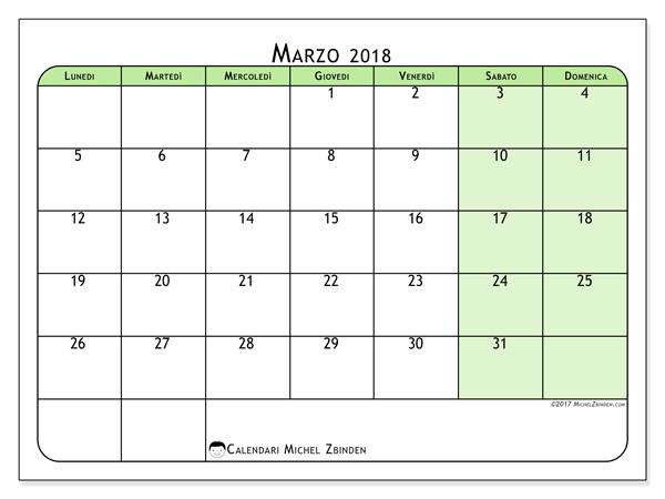 Calendario marzo 2018, Silvanus