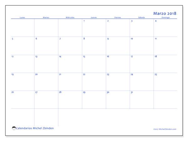 Calendario marzo 2018 - Ursus (cl)
