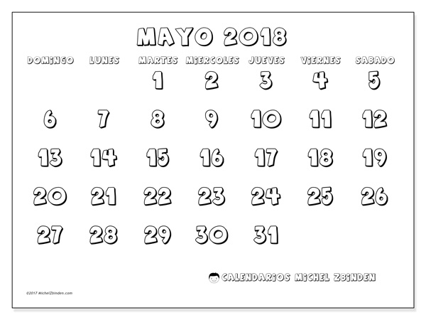 Calendario mayo 2018 - Adrianus (co)