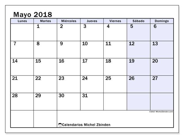 Calendario mayo 2018, Auxilius