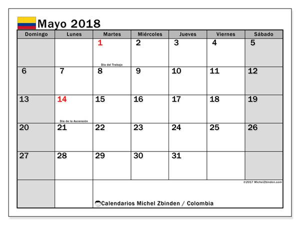Calendario mayo 2018, Días festivos en Colombia