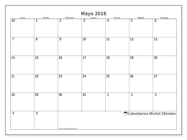 Calendario mayo 2018, Deodatus