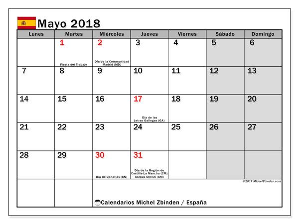 Calendario mayo 2018, Días festivos en España