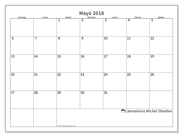 Calendario mayo 2018, Horus