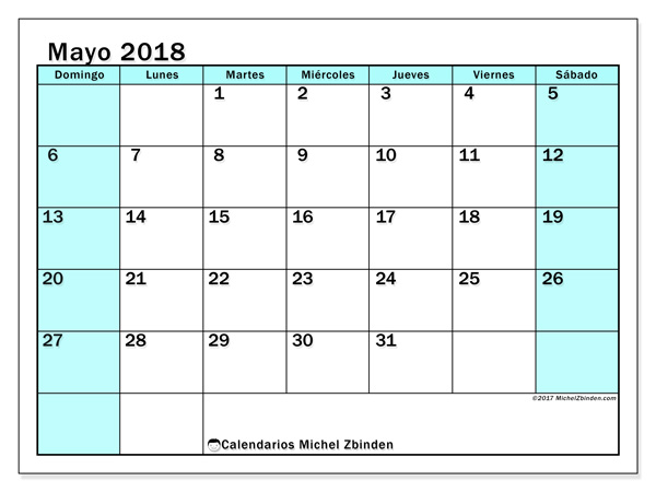 Calendario mayo 2018 - Laurentia (co)