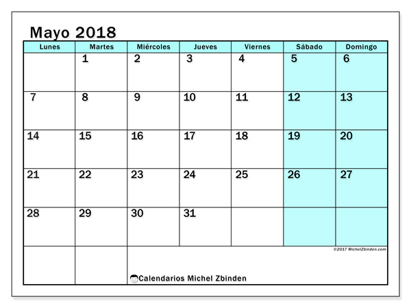 Calendario mayo 2018, Laurentia