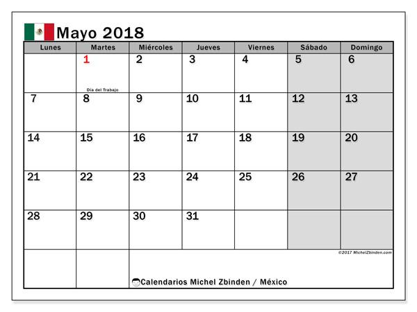 Calendario mayo 2018, Días feriados en México