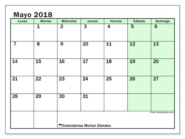 Calendario mayo 2018, Nereus