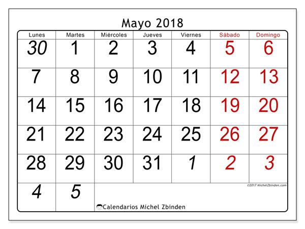Calendario mayo 2018, Oseus