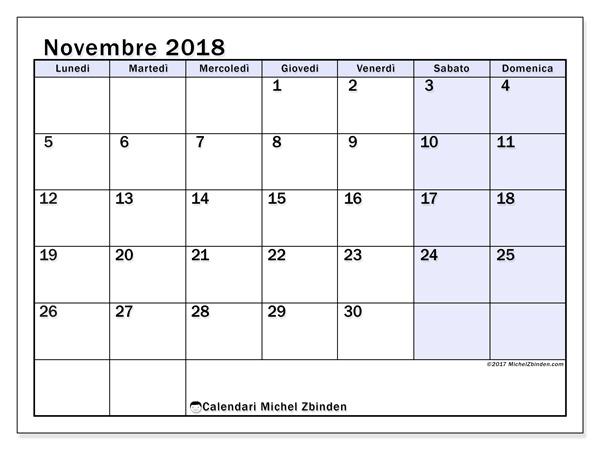Calendario novembre 2018, Auxilius