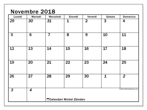 Calendario novembre 2018, Julius