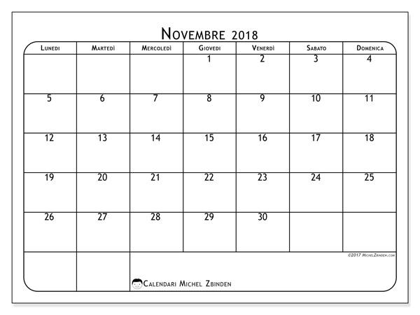 Calendario novembre 2018, Marius