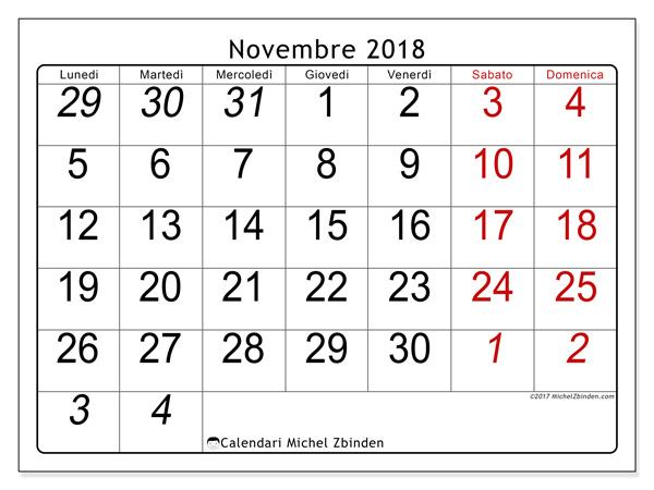 Calendario novembre 2018, Oseus