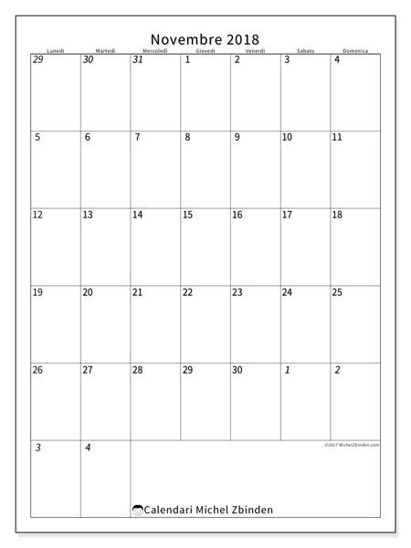 Calendario novembre 2018, Regulus