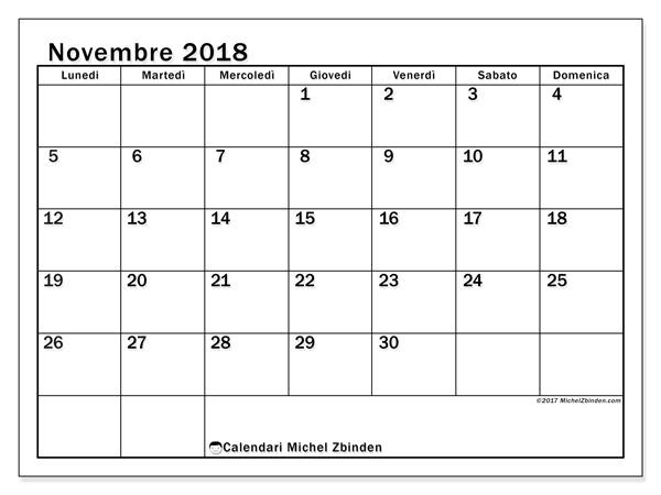 Calendario novembre 2018, Tiberius