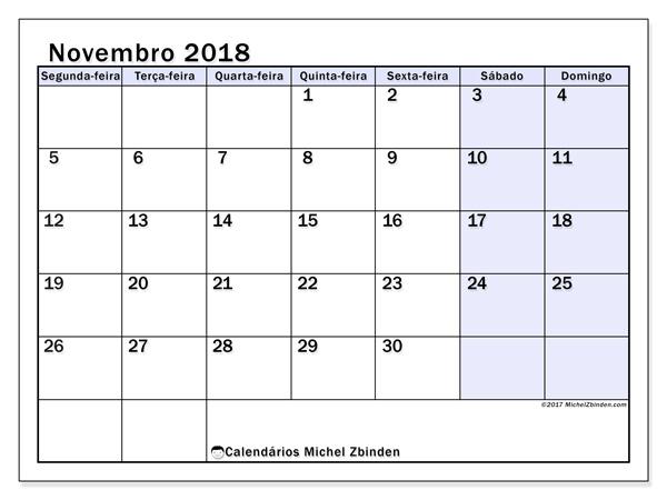 Calendário novembro 2018, Auxilius