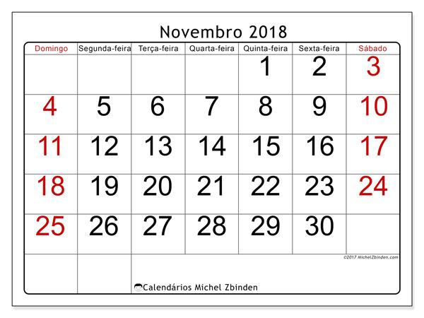 Calendário novembro 2018, Emericus