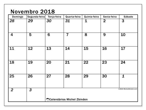 Calendário novembro 2018, Julius