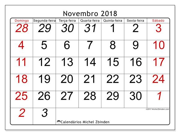 Calendário novembro 2018, Oseus