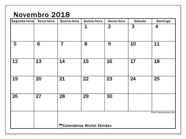 Calendário novembro 2018, Tiberius